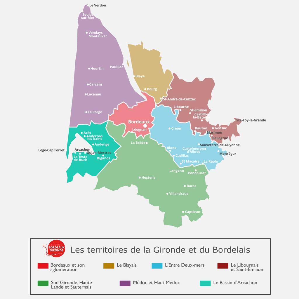 Carte du Bassin d'Arcachon en Gironde
