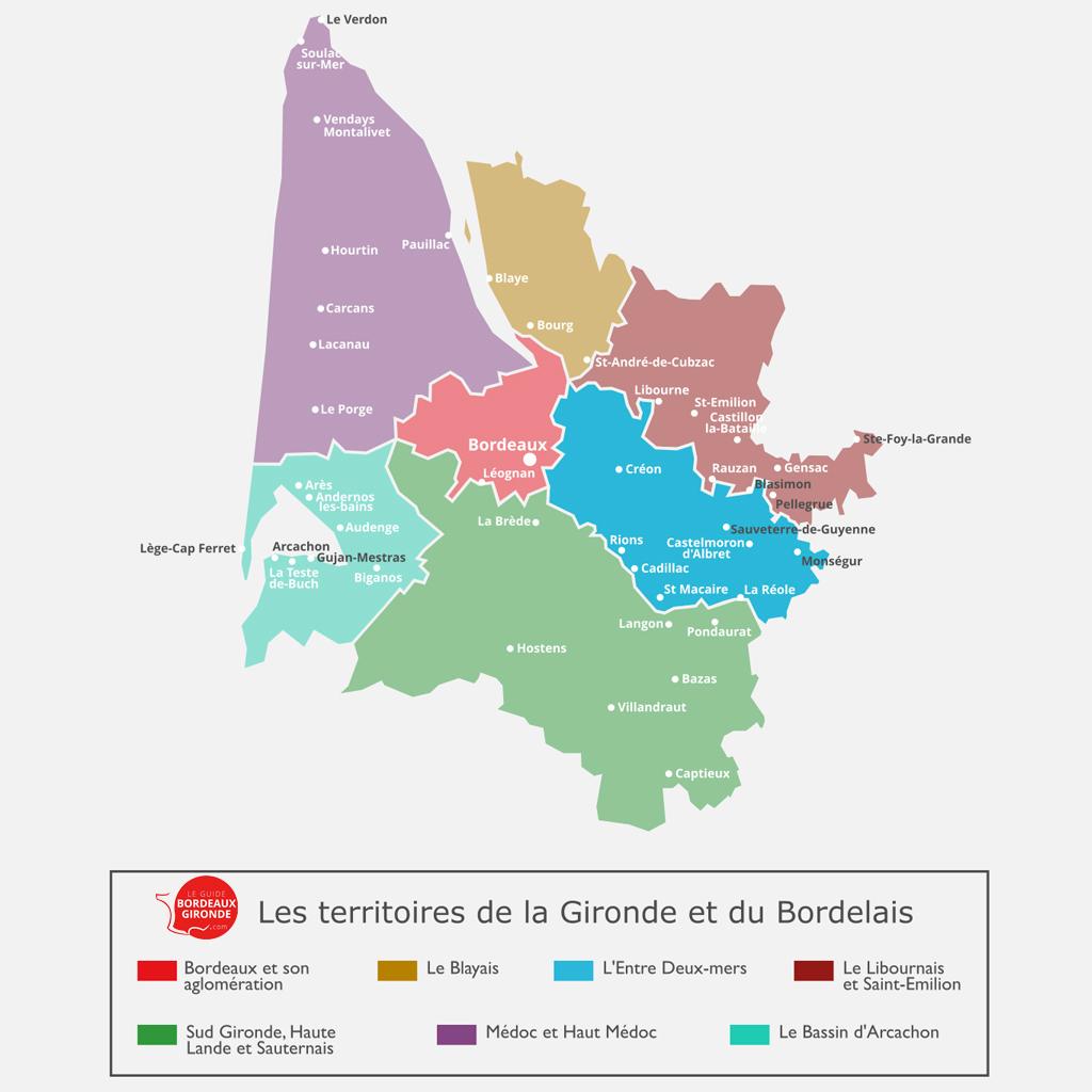 Carte de l'Entre deux mers en Gironde