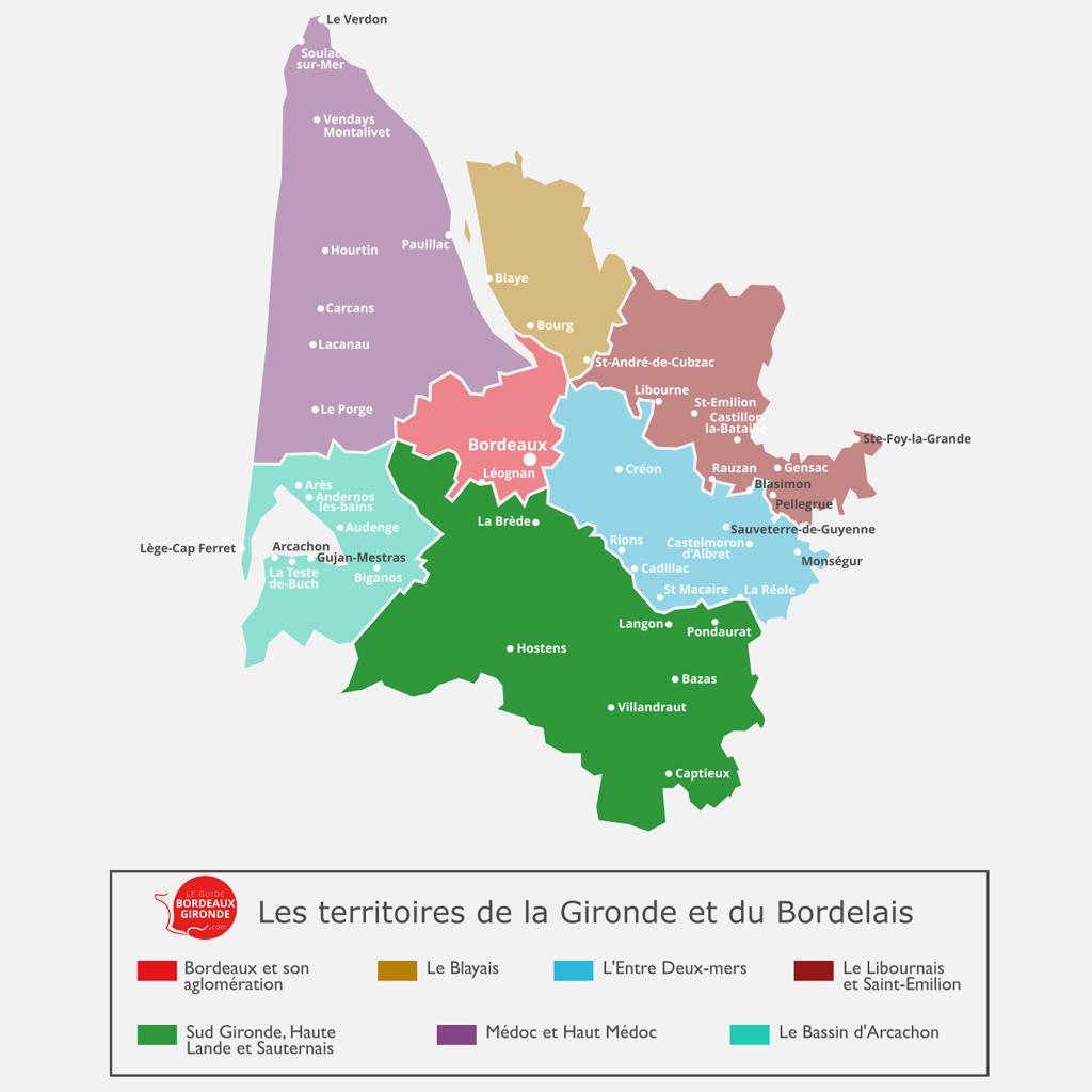 Carte du Sud Gironde, Haute Landes et Sauternais