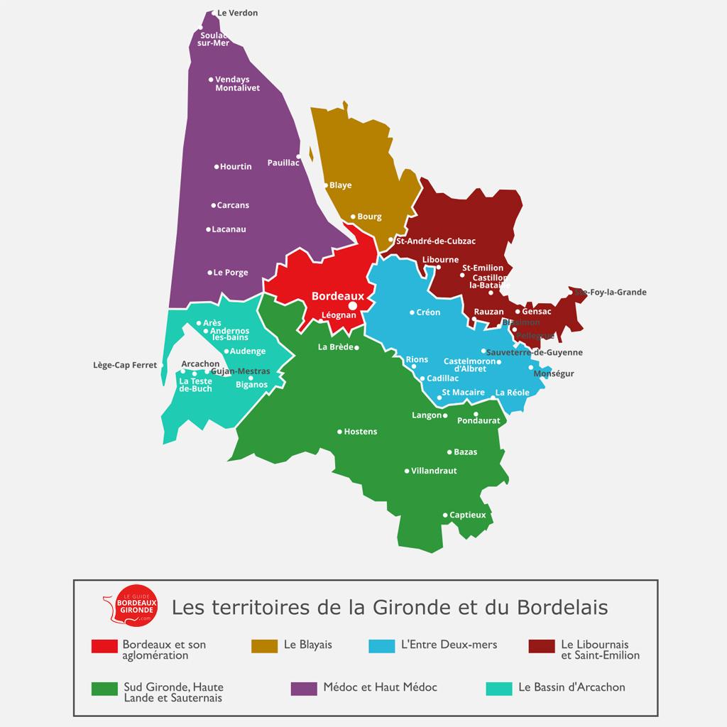 Les territoires touristiques Bordeaux Gironde carte
