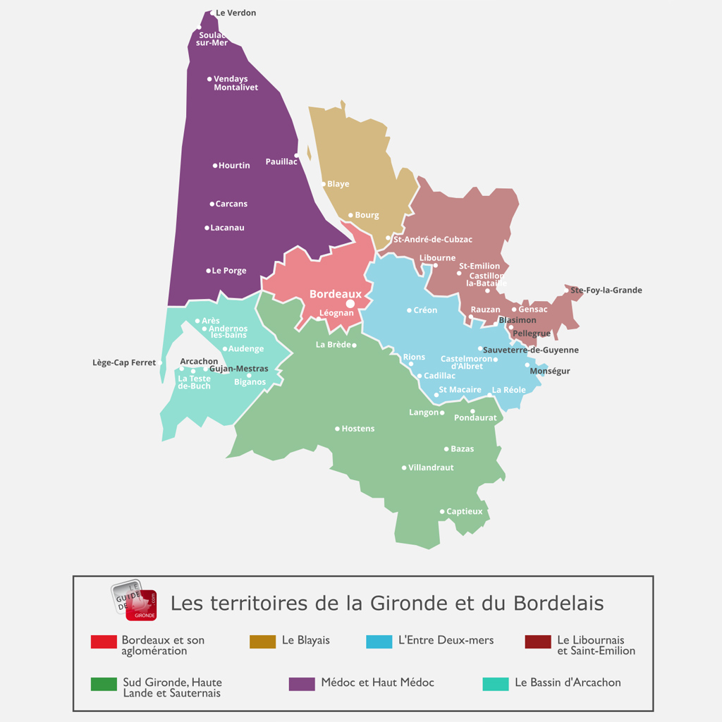 Carte du Médoc et Haut Médoc en Gironde