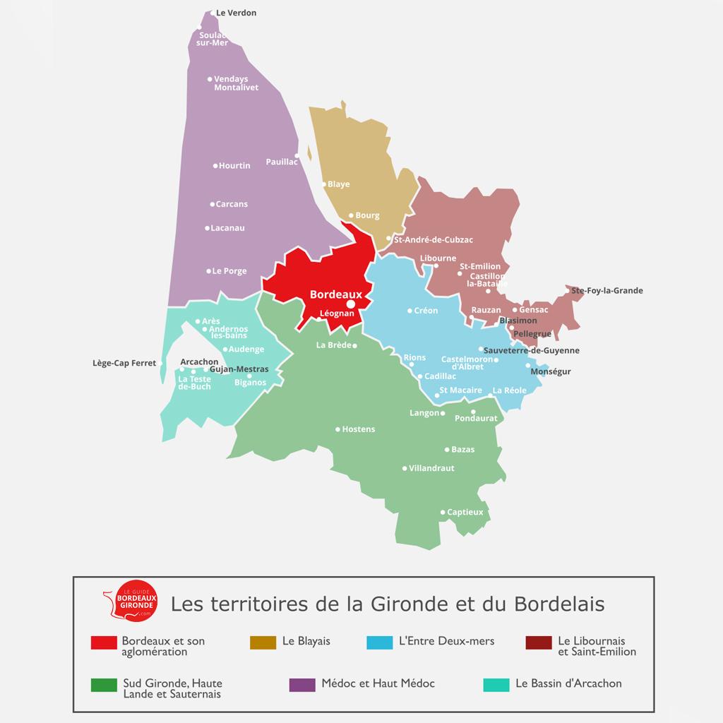 Carte de Bordeaux en Gironde